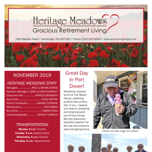 November Heritage Meadows Gracious Retirement Living newsletter