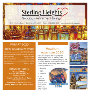 January Sterling Heights Gracious Retirement Living Newsletter