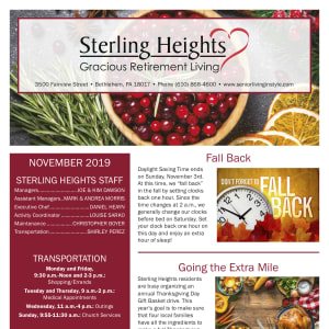 November Sterling Heights Gracious Retirement Living newsletter
