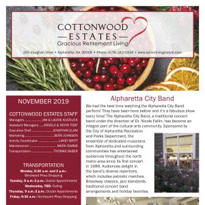 November Cottonwood Estates Gracious Retirement Living newsletter
