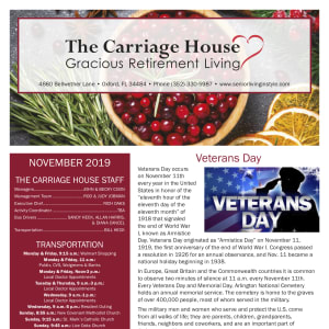 November The Carriage House Gracious Retirement Living newsletter