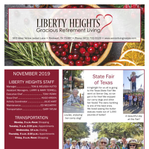 November Liberty Heights Gracious Retirement Living newsletter