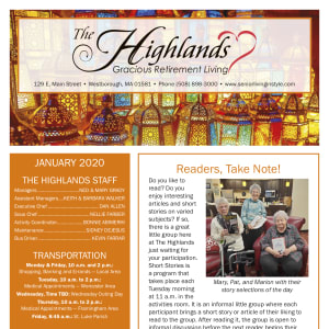 January The Highlands Gracious Retirement Living Newsletter