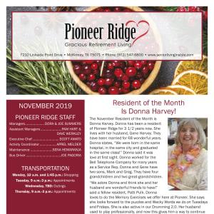 November Pioneer Ridge Gracious Retirement Living newsletter