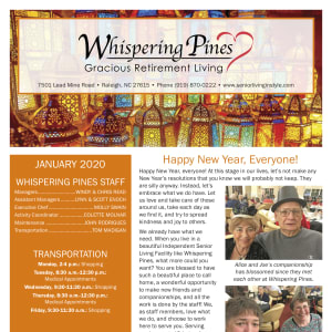 January Whispering Pines Gracious Retirement Living Newsletter