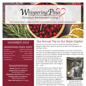 November Whispering Pines Gracious Retirement Living newsletter