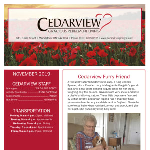 November Cedarview Gracious Retirement Living newsletter