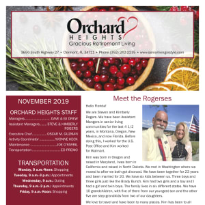 November Orchard Heights Gracious Retirement Living newsletter