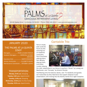 January The Palms at LaQuinta Gracious Retirement Living Newsletter