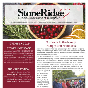 November Stoneridge Gracious Retirement Living newsletter