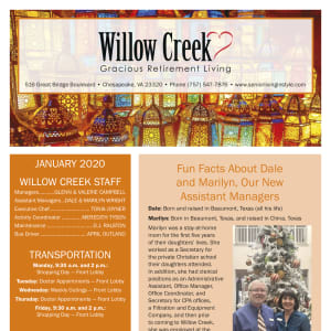 January Willow Creek Gracious Retirement Living Newsletter