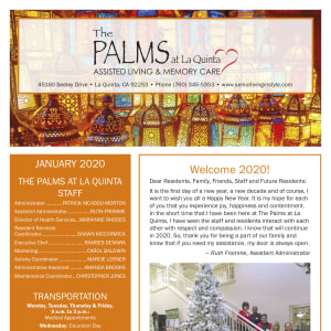 January The Palms at La Quinta Assisted Living and Memory Care Newsletter
