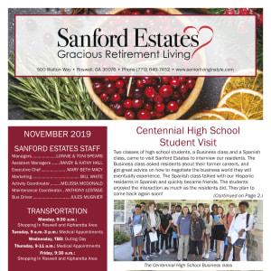 November Sanford Estates Gracious Retirement Living newsletter