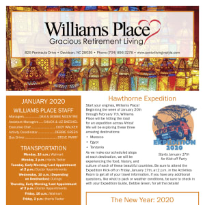 January Williams Place Gracious Retirement Living Newsletter
