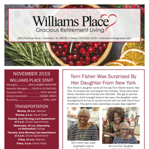 November Williams Place Gracious Retirement Living newsletter