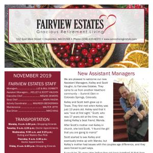 November Fairview Estates Gracious Retirement Living newsletter