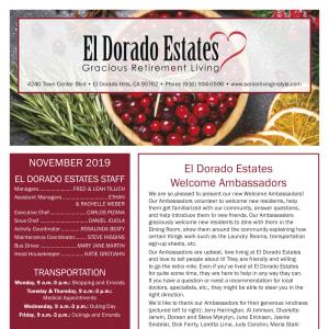 November El Dorado Estates Gracious Retirement Living newsletter