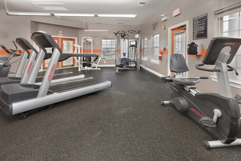 A fully equipped gym at Kingscrest Apartments in Frederick, Maryland