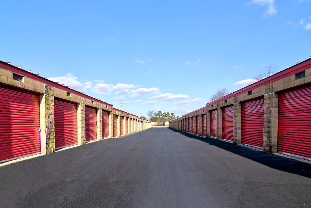 Wide drive ways at Prime Storage in Lindenwold, New Jersey