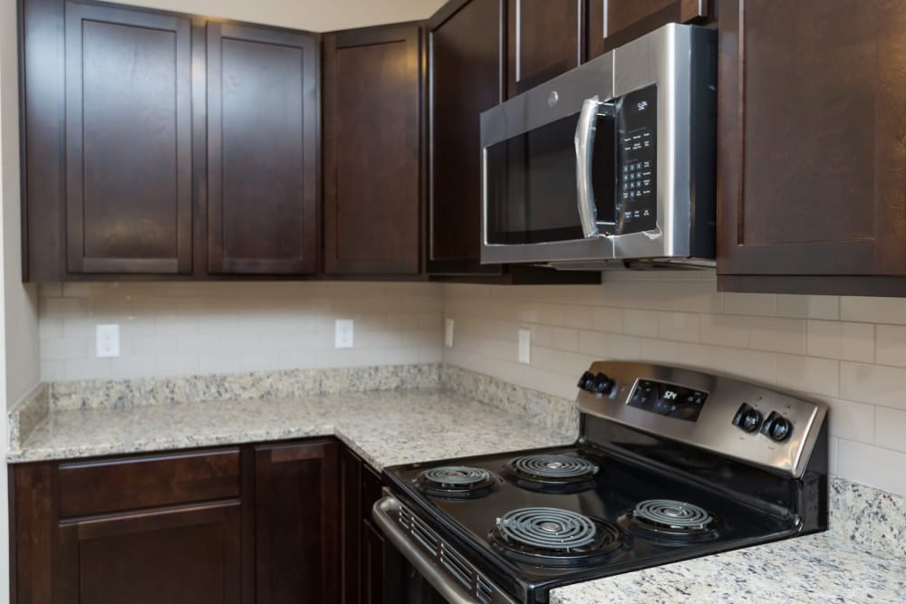 Stainless-steel appliances at Oakwood Estates in Hixson, Tennessee