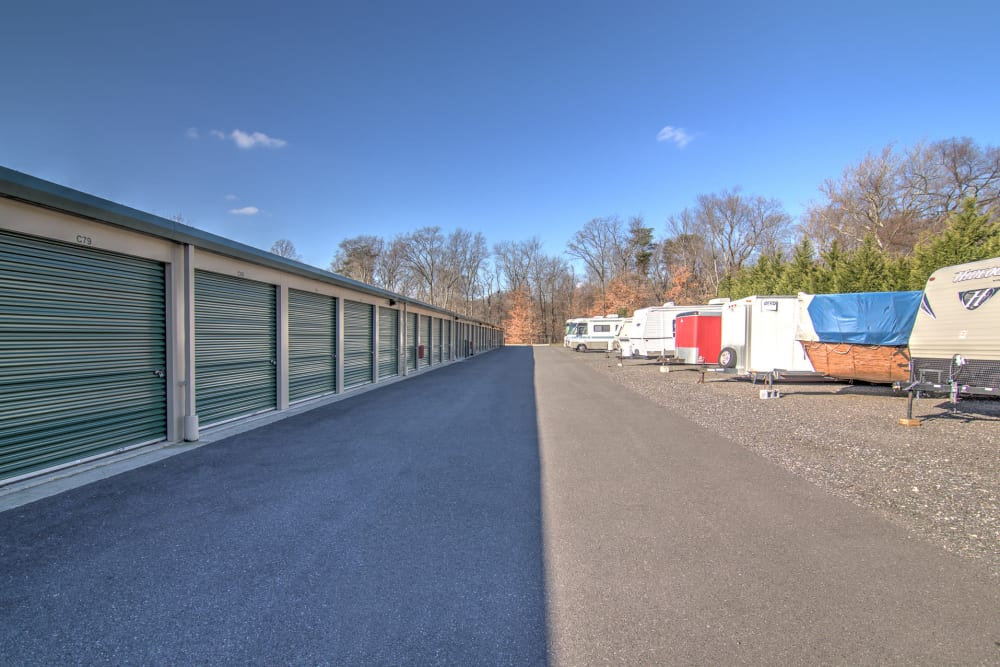 Outdoor storage units at A Space Place Self Storage in Medford, New York