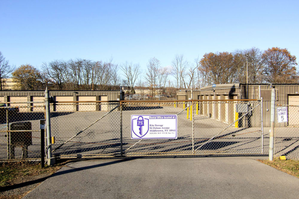 Gated entrance at Prime Storage in Middletown, NY