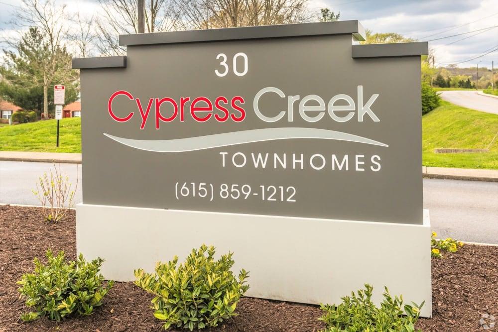 Neighborhood signage at Cypress Creek Townhomes