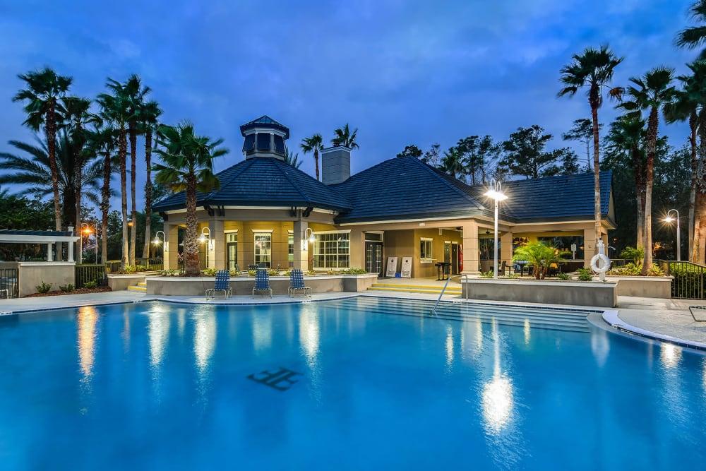 Nighttime pool view at Ocean Park of Ponte Vedra in Jacksonville Beach, FL