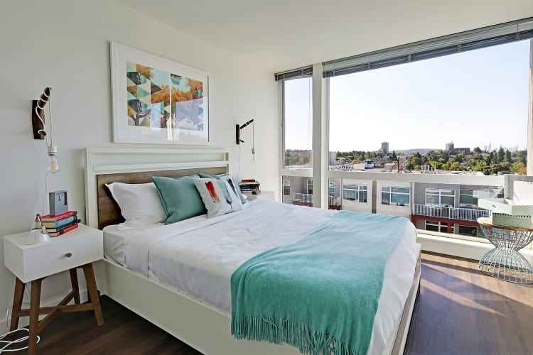 Rooster Apartments offers a luxury bedroom in Seattle, Washington