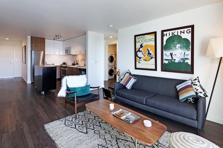 Cozy living room at Rooster Apartments in Seattle, Washington