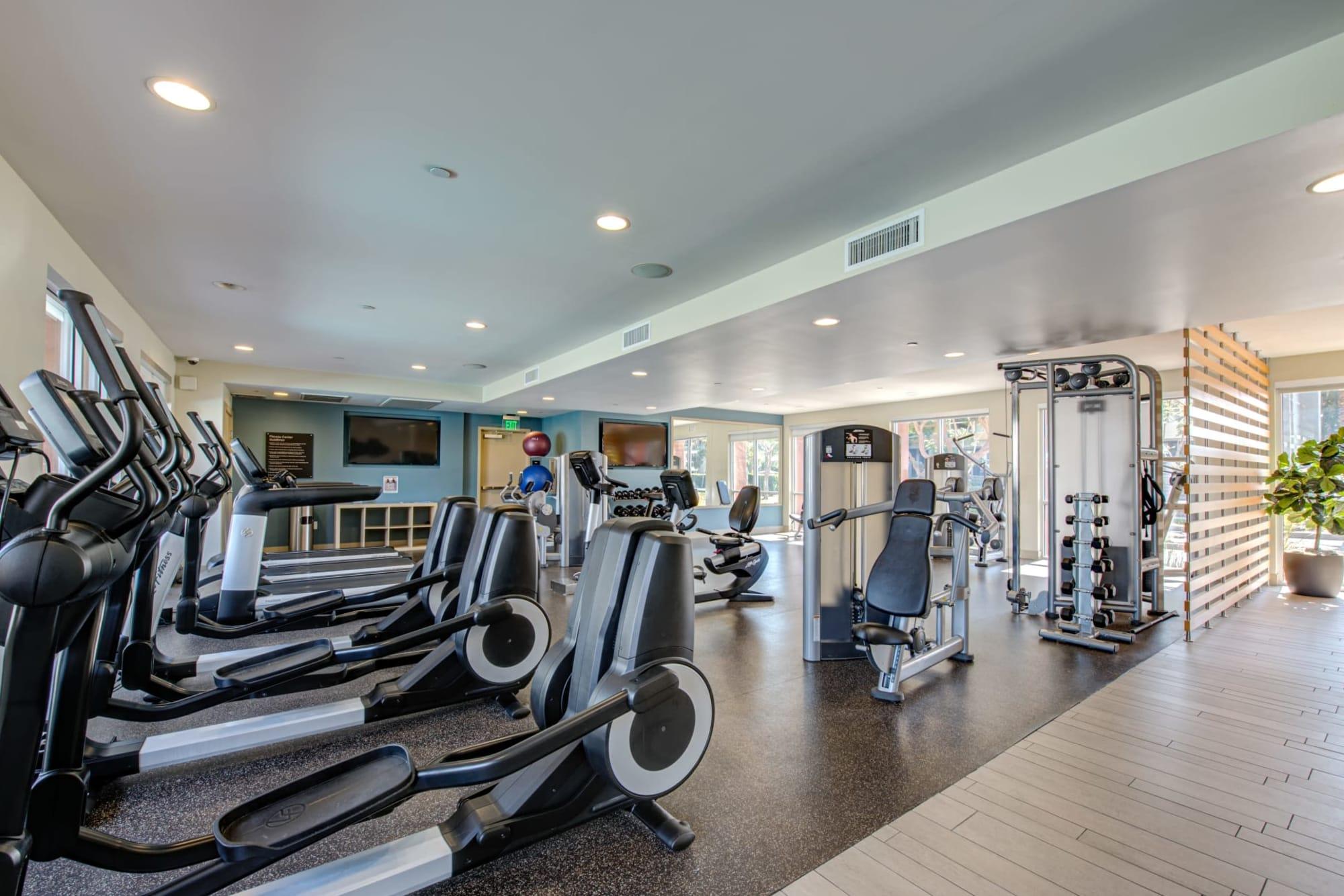 State-of-the-art fitness equipment at Harborside Marina Bay Apartments in Marina del Rey, California