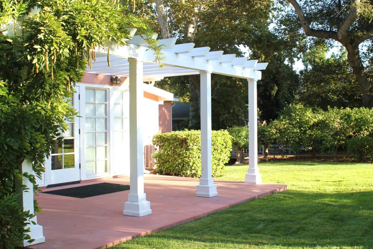 A covered patio at Gables of Ojai in Ojai, California
