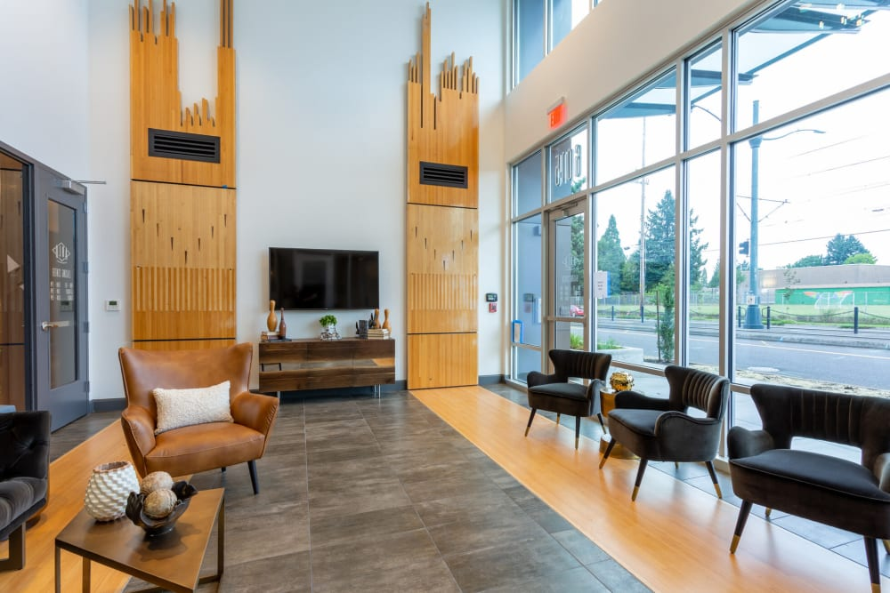 Welcoming lobby interior with modern furnishings at ArLo Apartments in Portland, Oregon