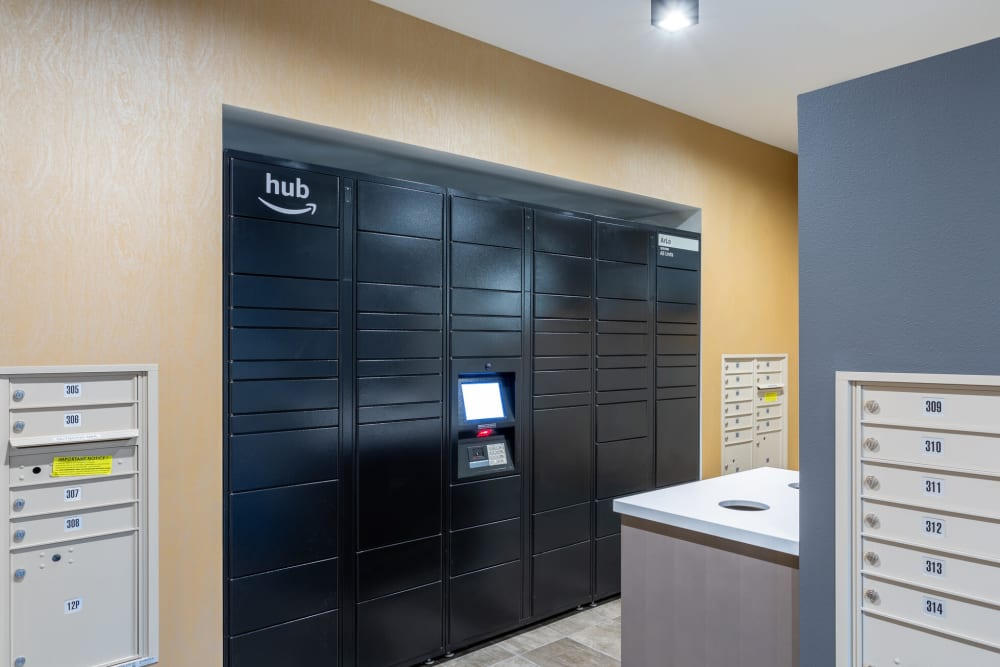 Secure package area at ArLo Apartments in Portland, Oregon