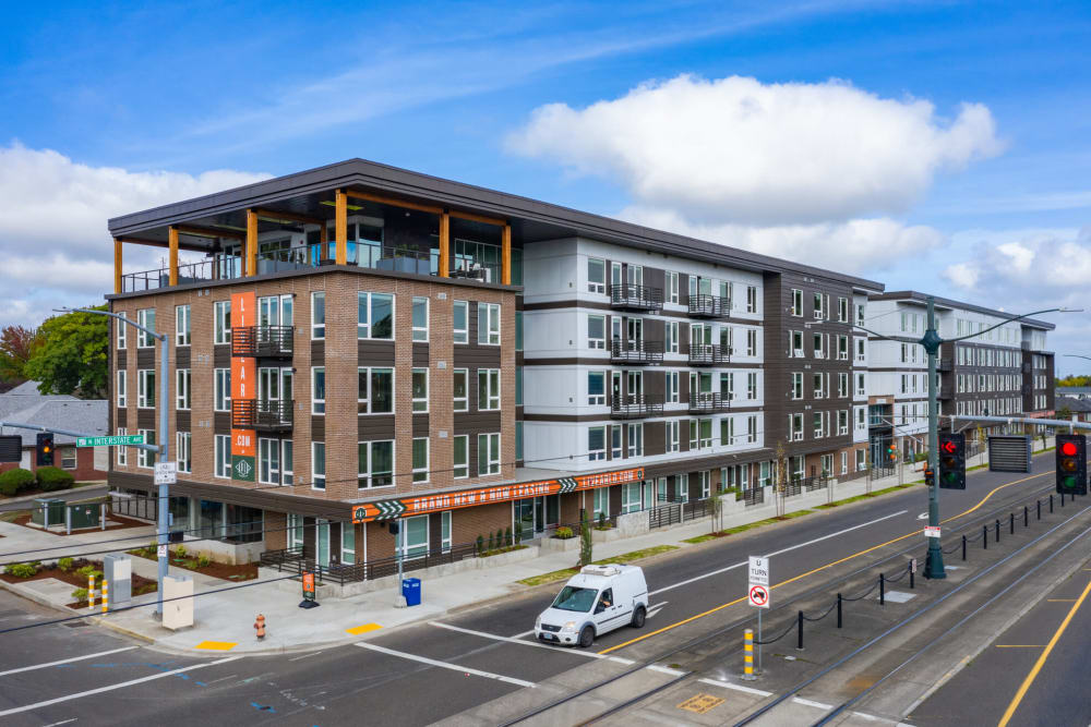 Beautiful blue sky and fluffy clouds above our community at ArLo Apartments in Portland, Oregon