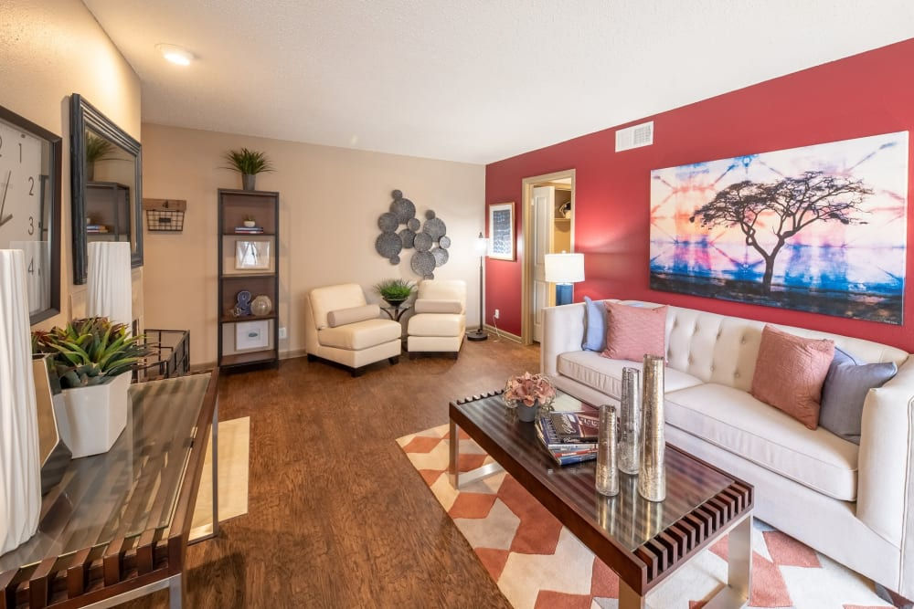 Modern decor in a model home's living room at Ridgeview Place in Irving, Texas