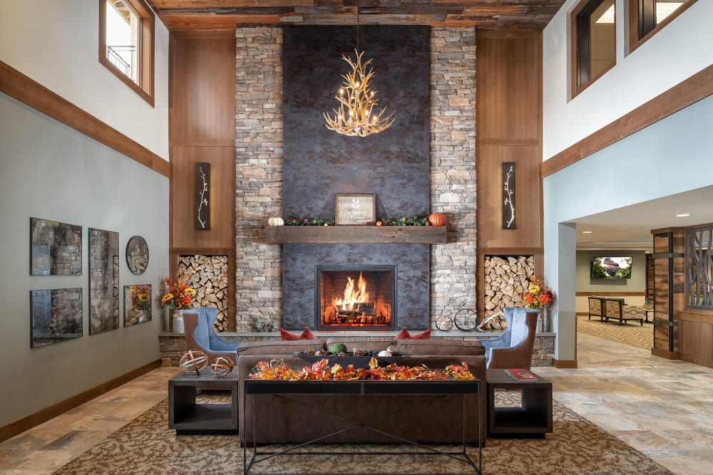 Invitingly warm fire place lounge at The Springs at Bozeman in Bozeman, Montana