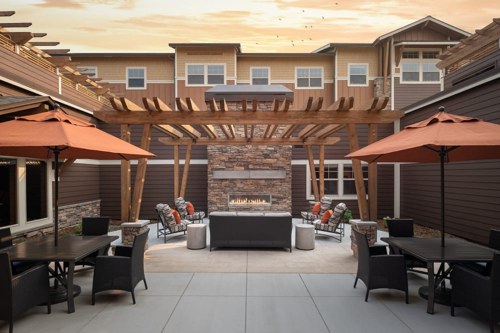 Relaxing patio with modern decor at The Springs at Bozeman in Bozeman, Montana