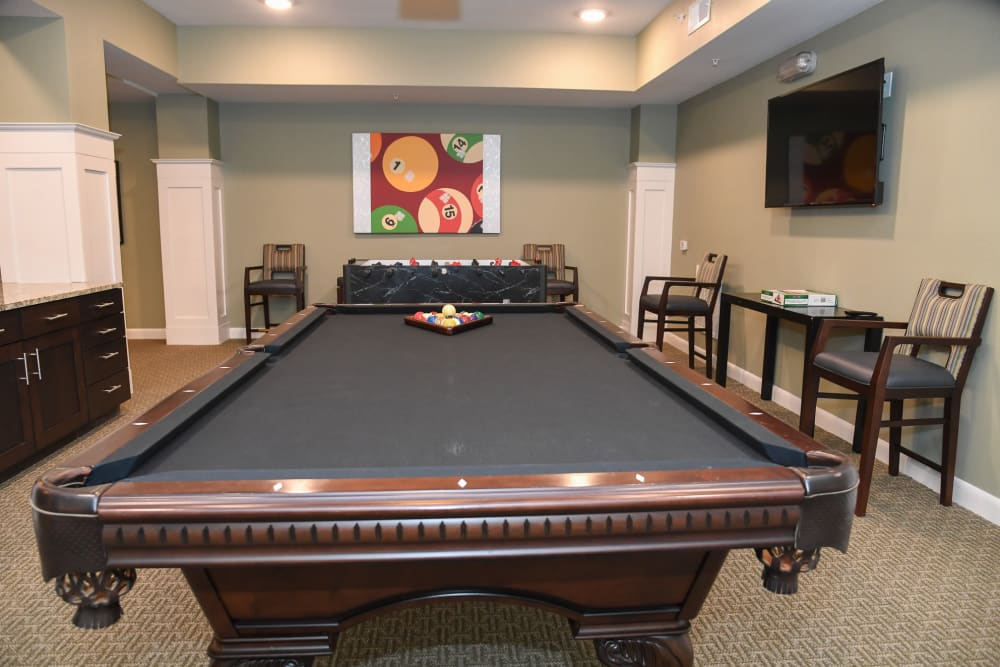 Game room at Artistry at Craig Ranch in McKinney, Texas