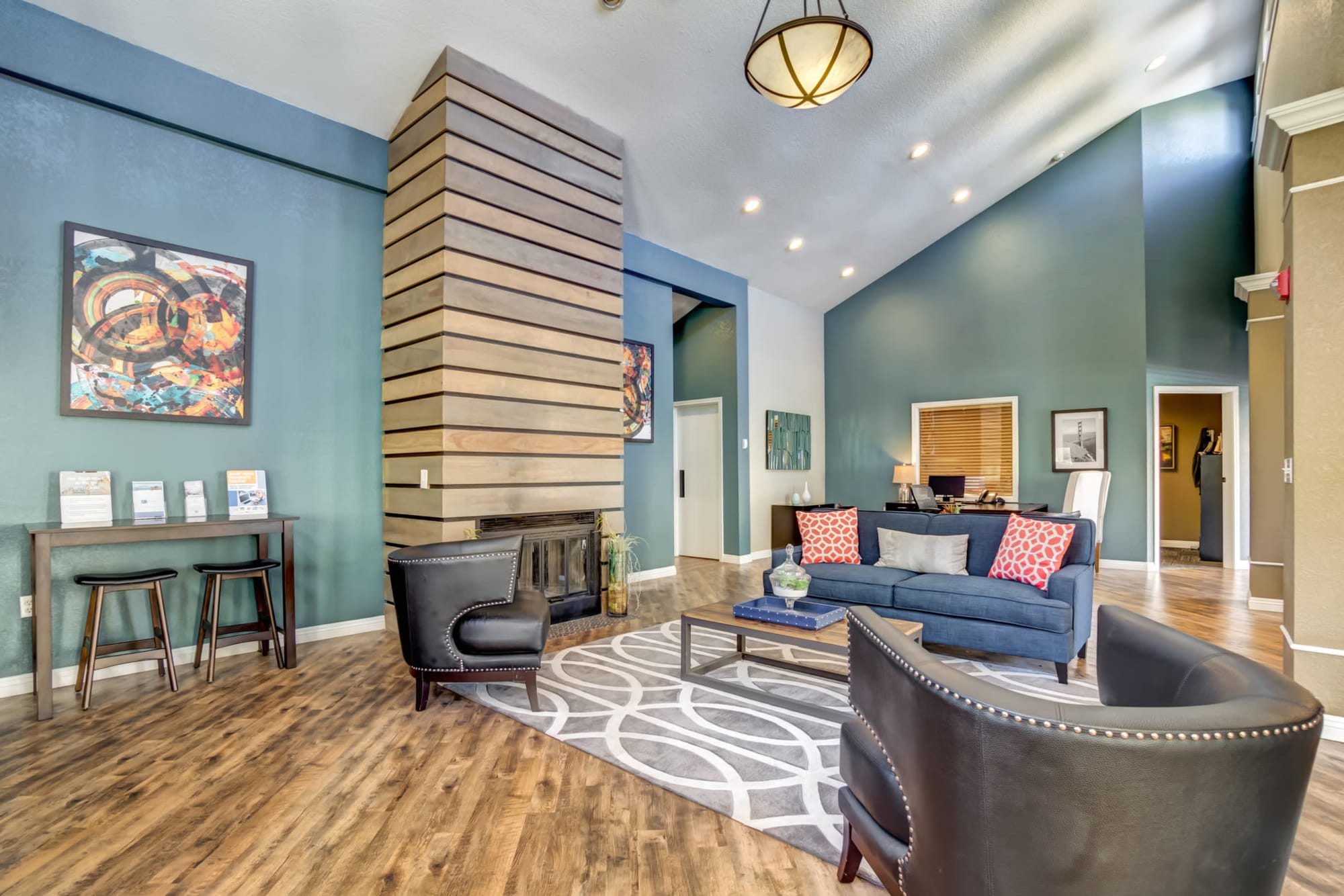 Clubhouse Lounge with fireplace at Serramonte Ridge Apartment Homes