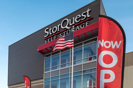 Signage in front of StorQuest Self Storage in Hawthorne, California