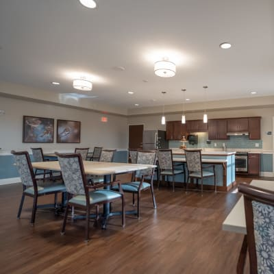 Bistro-style dining options with community kitchen at The Sanctuary at St. Cloud in St. Cloud, Minnesota