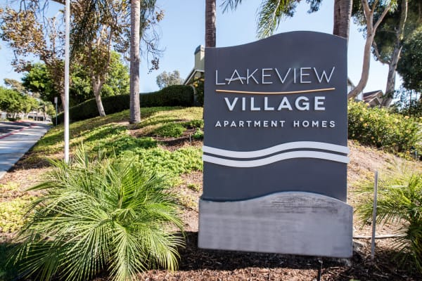 monument sign and and entryway to Lakeview Village Apartments in Spring Valley
