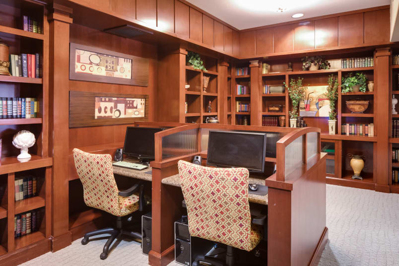 Spacious library at McDowell Village in Scottsdale, Arizona