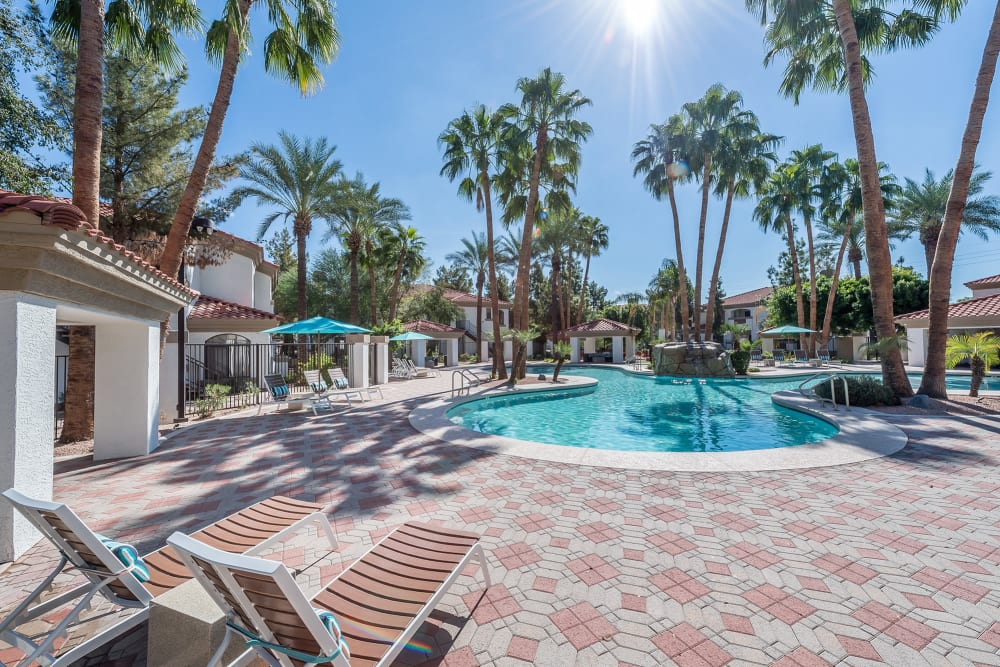 Beautiful swimming pool at San Palmas in Chandler, Arizona