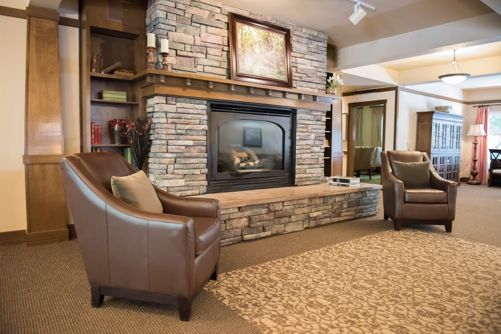 Beautiful stone fireplace at The Springs at Wilsonville in Wilsonville, Oregon
