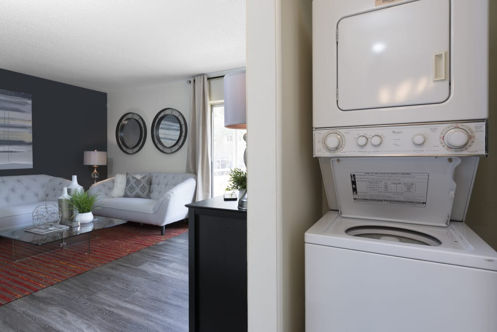 In unit washers and dryers for residents at The Vue at Baymeadows Apartment Homes in Jacksonville, Florida