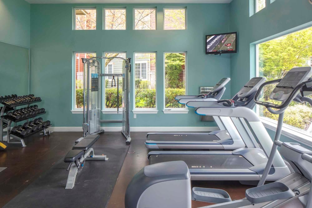 Clean, modern community gym at The Grove at Orenco Station in Hillsboro, Oregon