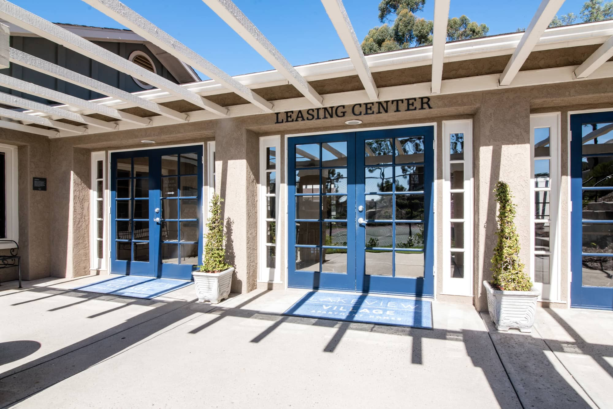 Entryway to the leasing office at Lakeview Village Apartments in Spring Valley, California
