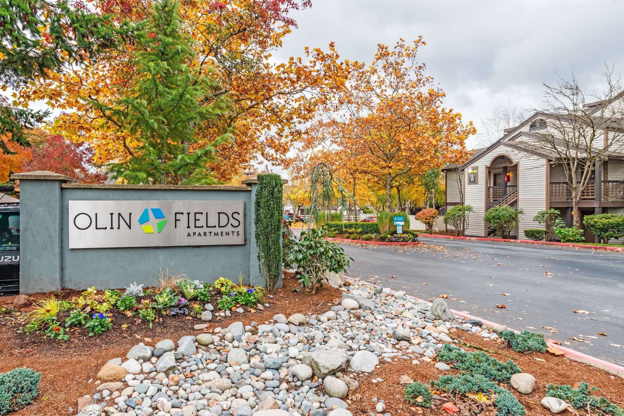 Main sign to Olin Fields Apartments